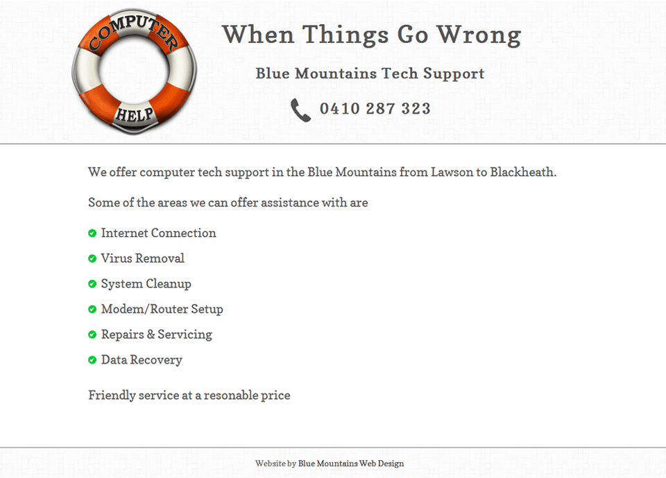 Blue Mountains Tech Support – Website by Blue Mountains Web Design